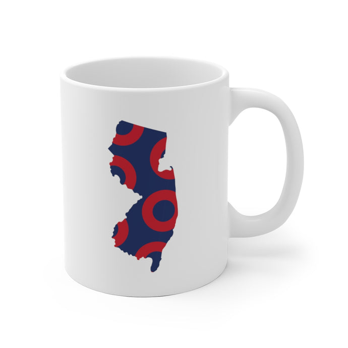 New Jersey, Red Circle Donut Coffee Mug - State Shape - PH