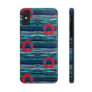 Red Circle Donuts on Light Blue Waves on Black Background Phone Cases - PH