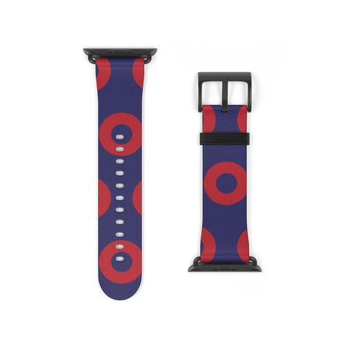 Henrietta Donut Pattern Watch Strap - Red Donut Pattern - Red Circle Donuts - PH