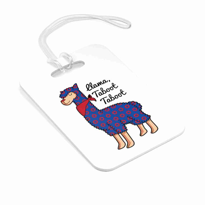 Taboot Llama Red Henrietta Circle Donut Bag Tag - Luggage Tag - PH