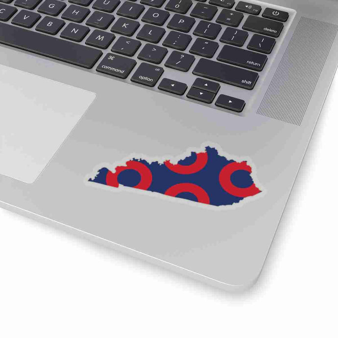 Kentucky, Red Circle Donut Sticker - State Shape - PH