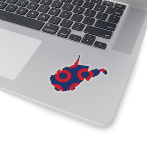 West Virginia, Red Circle Donut Sticker - State Shape - PH