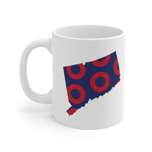Connecticut, Red Circle Donut Coffee Mug - State Shape - PH