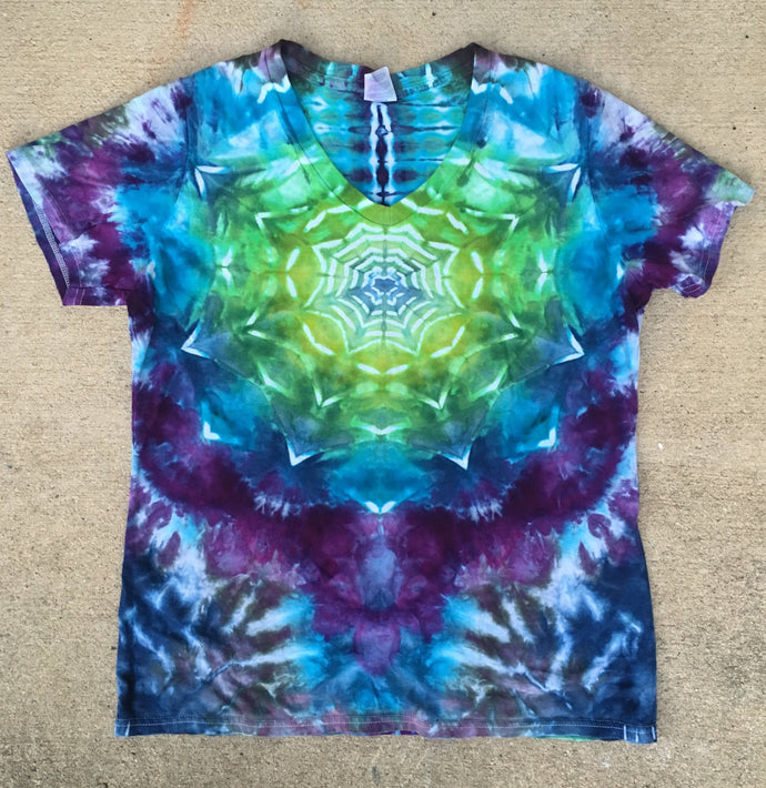 Tie Dye Womens V-Neck Tshirt - Medium