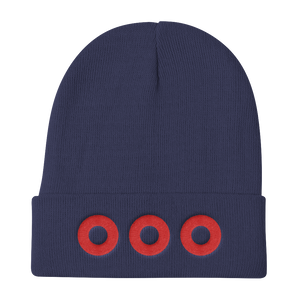 Red Henrietta Donut Embroiderd Knit Beanie