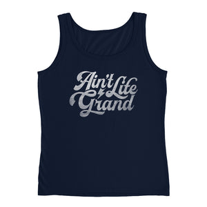 Ain't Life Grand DISSTRESSED White Grahpic Ladies Tank - JB