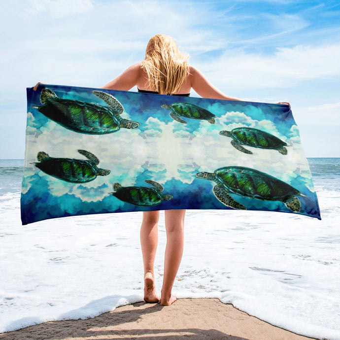 Turtles In The Clouds Beach Towel - Sea Turtle - Save the Turtles - PH