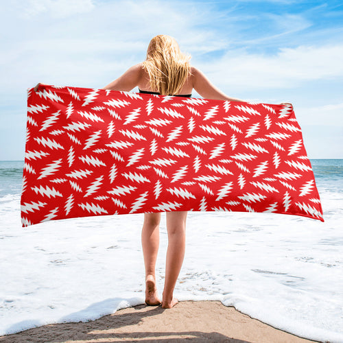 GD 13 Point Bolt Lightning Bolt Red and White Beach Towel