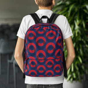 Red Henrietta Circle Donut Pattern Backpack - PH