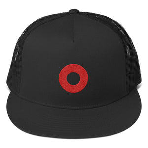 Red Circle Donut Embroidered Trucker Hat Cap, Henrietta Donut