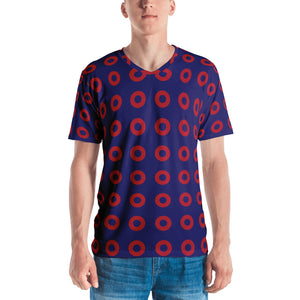 Red Circle Donut V-Neck Shirt, PH Donut Pattern Lot Shirt - PH