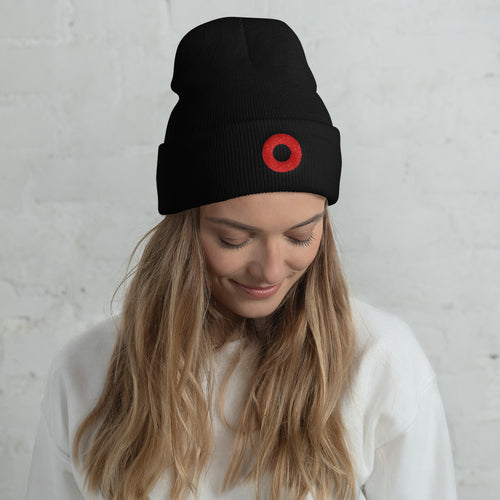 Red Henrietta Embroidered Cuffed Beanie - PH