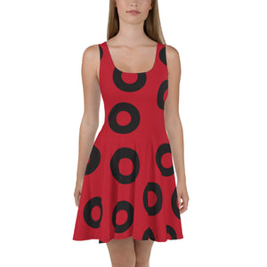 YEMSG Skater Dress, Fishman Donut, Black Donut Circle on Red