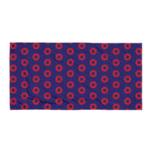 Load image into Gallery viewer, Red Henrietta Circle Donuts Beach Towel - SKEWED Donuts - PH