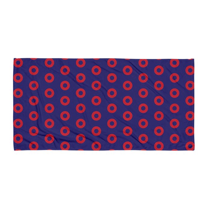 Red Henrietta Circle Donuts Beach Towel - SKEWED Donuts - PH