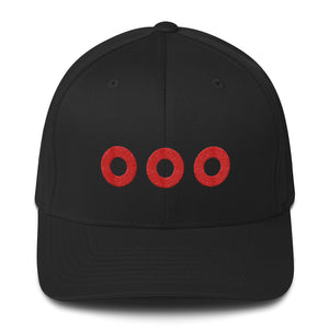 PH Fishman Donut Embroidered Red Circles Structured Flexfit Twill Hat Cap