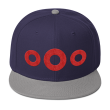 Load image into Gallery viewer, Red Circle Donut Embroidered Wool Blend Snapback, Henrietta Donut