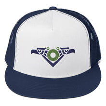 Load image into Gallery viewer, Phexico - Mexico 2020 Mayan Bird Embroidered Trucker Cap, RIVIERA MAYA 2020, Fishman Donut, Green Circle Donut, Phexico