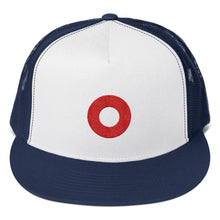 Load image into Gallery viewer, Red Circle Donut Embroidered Trucker Hat Cap, Henrietta Donut