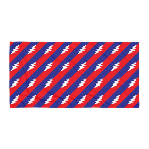 GD 13 Point Bolt Red, White, Blue Beach Towel