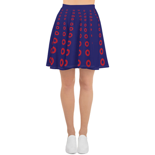 Optical Skirt Ascending Red Donut Circle Sizes Skater Skirt -PH