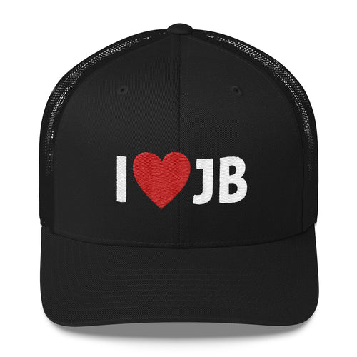 I Heart JB Embroidered Trucker Hat Cap-  JB