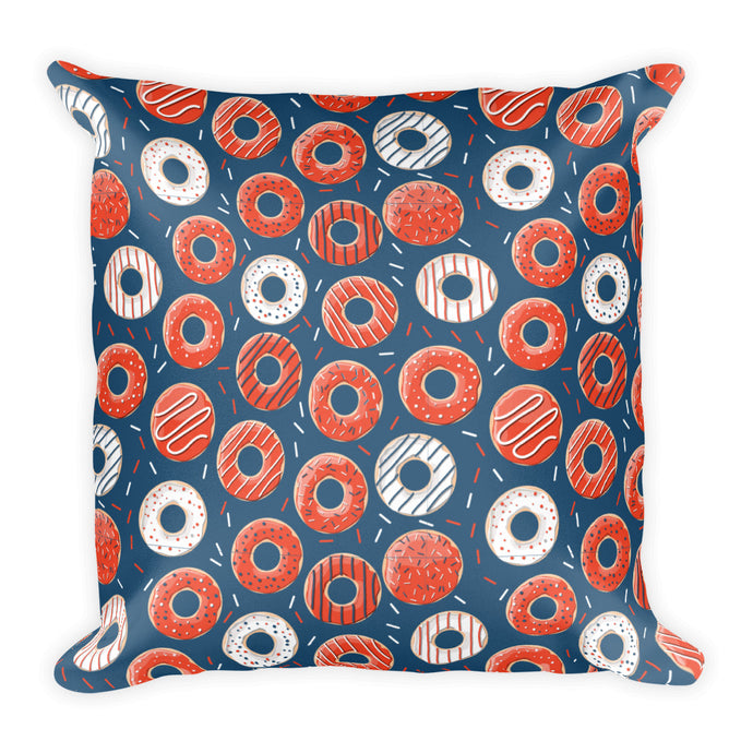 Bakers Dozen Donut Pattern Square Pillow - PH