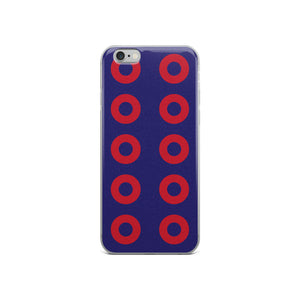 PH Red Circle Donut iPhone Case Stacked