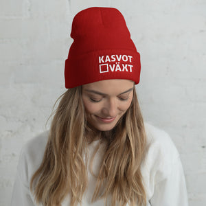 Kasvot Växt Embroidered Cuffed Beanie