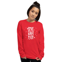 Load image into Gallery viewer, Peace Love and Joy Unisex Long Sleeve Shirt-Phish Inspired-Phish Donut-Phish LongSleeve Shirt-Red Circle Donut-JOY
