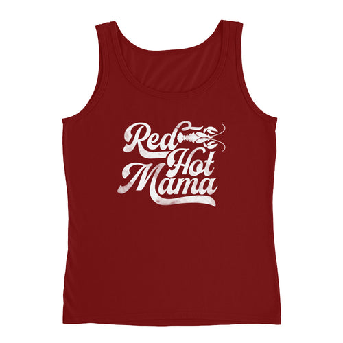 Red Hot Mama DISSTRESSED White Graphic Ladies' Tank-  JB