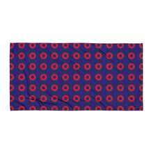 Load image into Gallery viewer, Red Donut Circles Beach Towel - STACKED Donuts - PH
