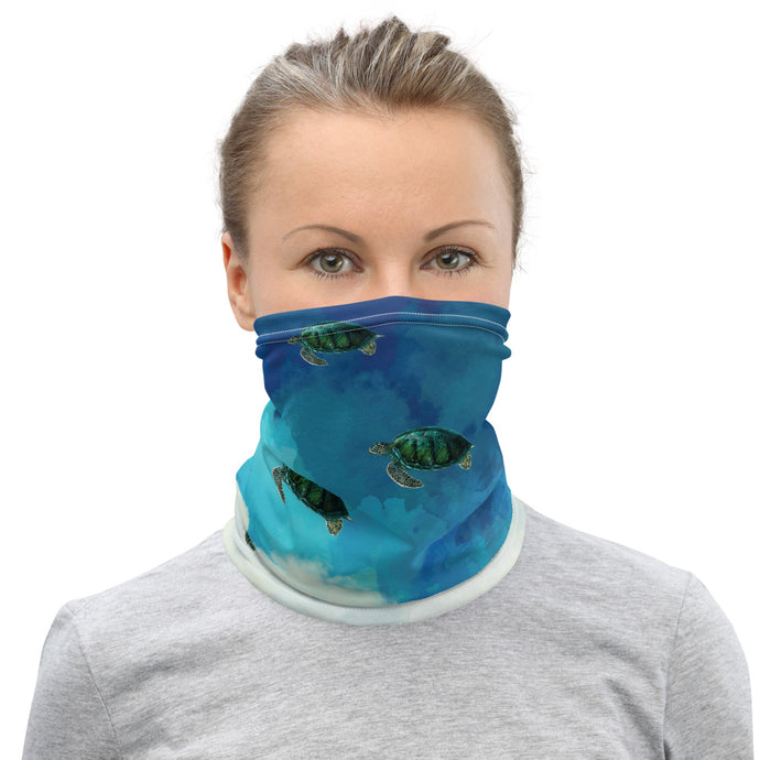 Sea Turtle Face Mask Coverlet,Neck Gaiter, Turtle In The Clouds Face Mask,Neck Gaiter