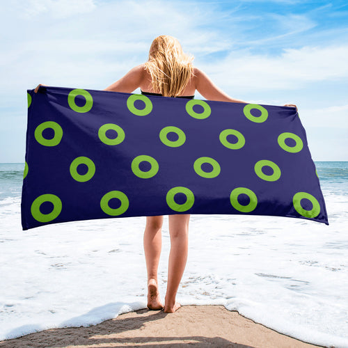 Phexico - Green Henrietta Donut Beach Towel 2- Green Donut - PH