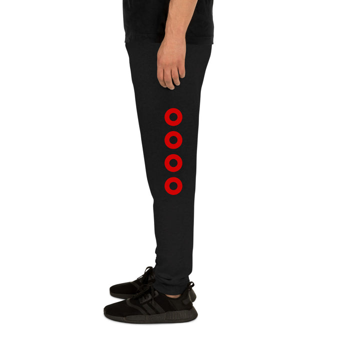 Red Circle Donut Leg Print Donuts on Unisex Joggers