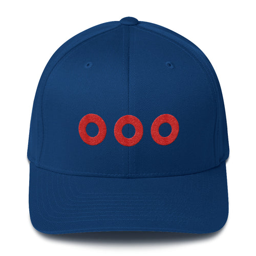Red Circle Donut Embroidered on a Structured Flexfit Twill Hat Cap - PH