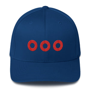 Red Henrietta Donut Embroidered on a Structured Flexfit Twill Hat Cap - PH