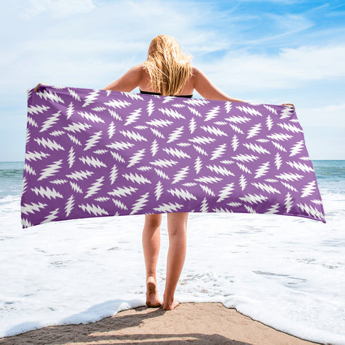 GD 13 Point Bolt Lightning Bolt Purple and White Beach Towel