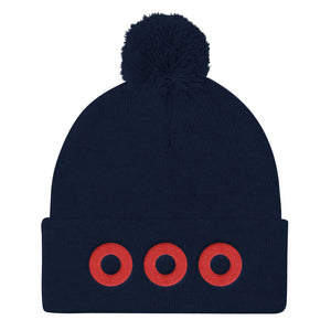 Red Henrietta Donuts Embroidered Pom Pom Knit Cap - PH
