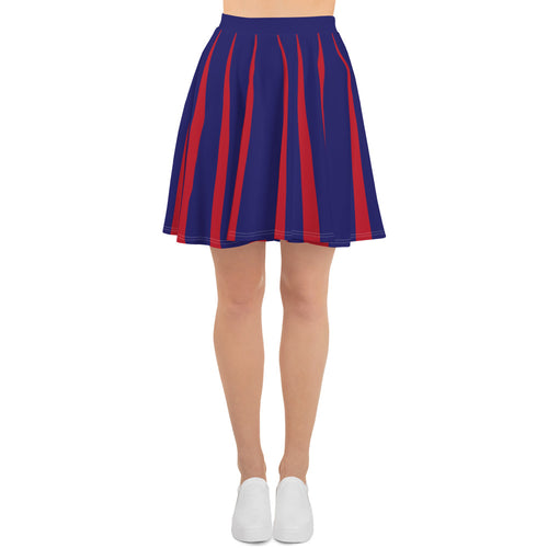 Red Blue Optical Skirt Skater Skirt - PH