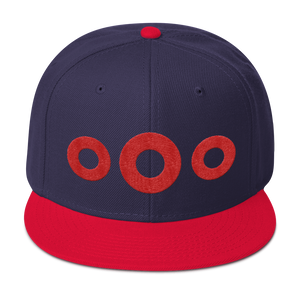 Red Circle Donut Embroidered Wool Blend Snapback, Henrietta Donut