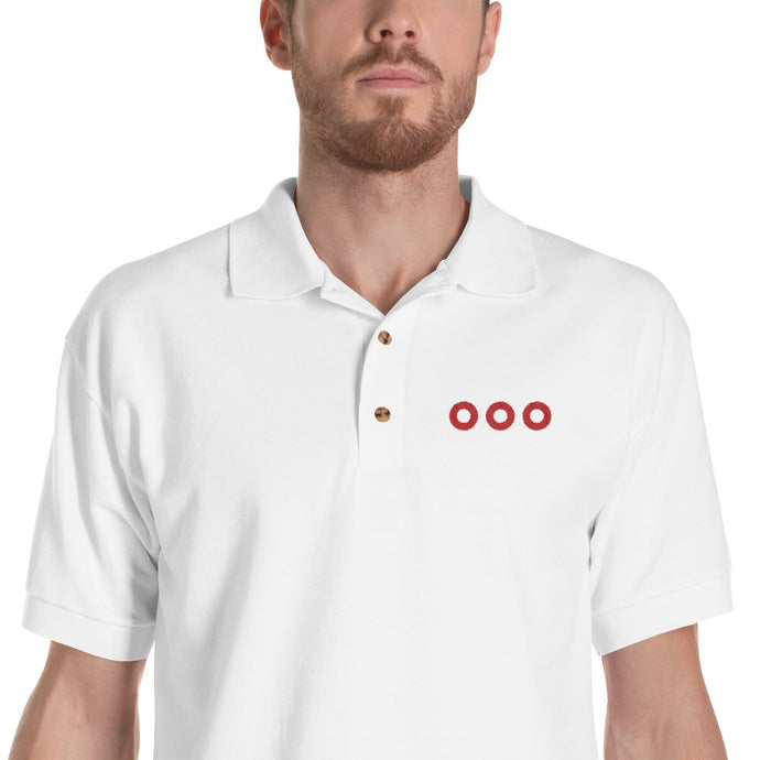 Red Henrietta Donut - 3 Red Circles Embroidered Polo Shirt - PH