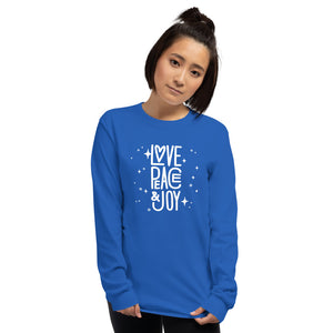 Peace Love and Joy Unisex Long Sleeve Shirt-Phish Inspired-Phish Donut-Phish LongSleeve Shirt-Red Circle Donut-JOY