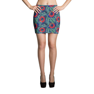 Red Henrietta Donut Palm Fronds on Blue Backgroudn All-Over Print Mini Skirt - PH