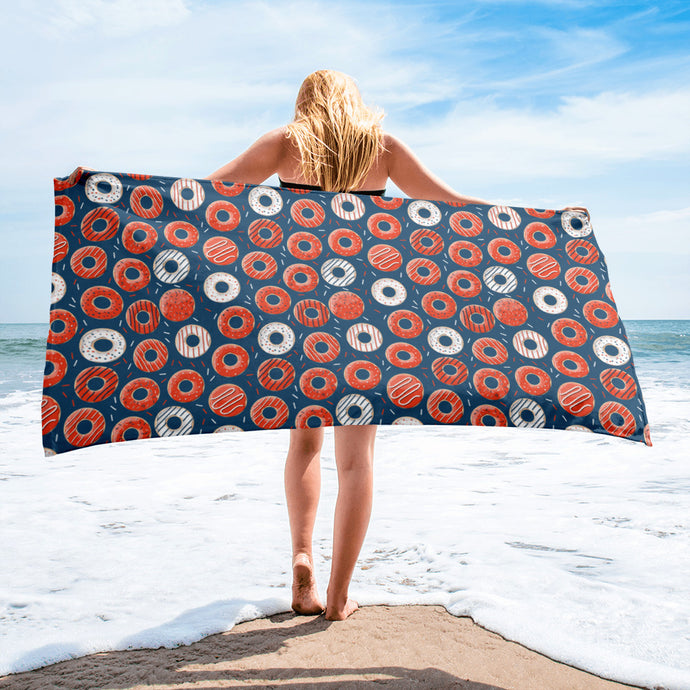 Bakers Dozen Donut Pattern Beach Towel - PH