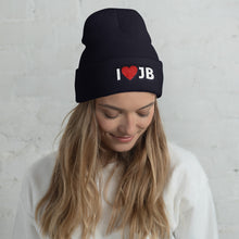 Load image into Gallery viewer, I Heart JB Embroidered Cuffed Beanie