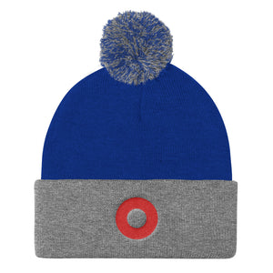 Red Henrietta Donut Embroidered Pom Pom Knit Cap - PH