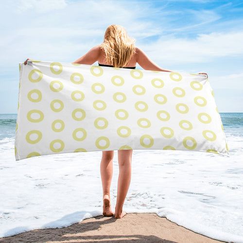 Kasvot Vaxt White Henrietta Circle Donut Beach Towel - i Rokk - Turtle in the Clouds - PH