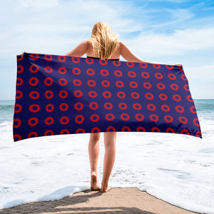 Red Donut Circles Beach Towel - STACKED Donuts - PH