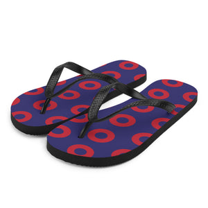 Red Henrietta Donut Unisex Flip-Flops - Medium Donuts version 2 - PH